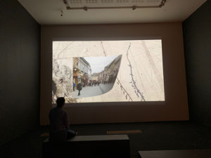 Watching video at the Glucksman Gallery, Cork, Ireland
