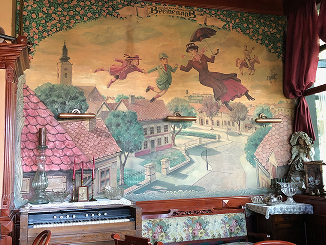 mural in the coffee shop