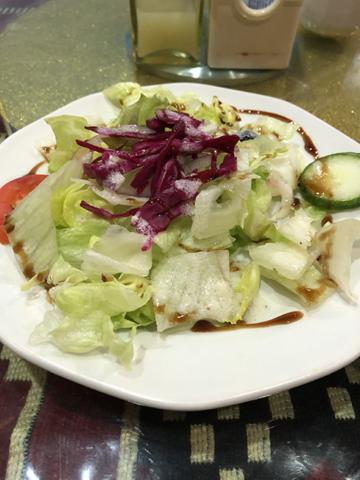 Salad with Eggplant Kebab